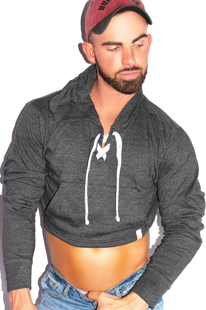 Strings Attached Crop Long Sleeve Hoodie- Dark Charcoal