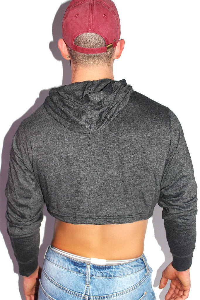 Strings Attached Crop Long Sleeve Hoodie-Charcoal