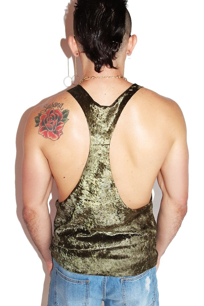 Crushed Velvet String Tank- Olive