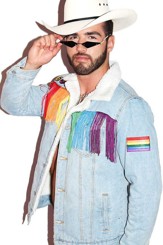 Gay Guy Fringe Rainbow Sherpa Denim Jacket- Blue