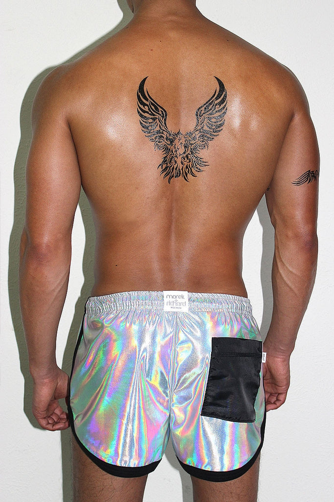 Holographic Running Shorts- White