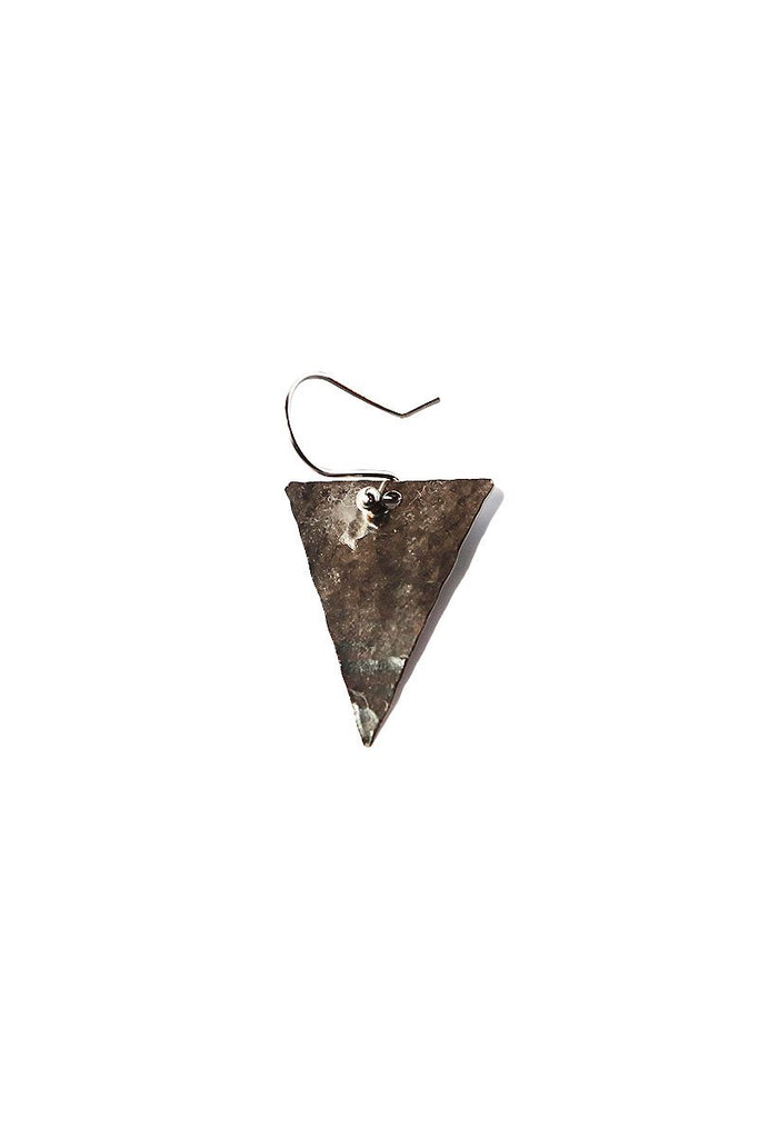 Hammered Triangle Single Earring-Silver