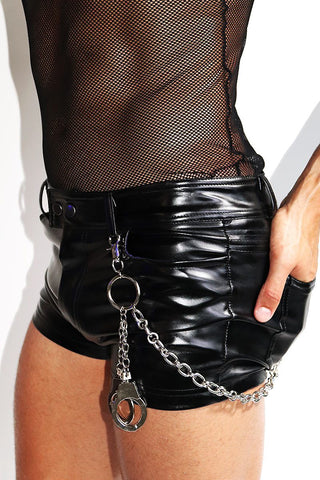 Leather Daddy Lace up Chap Trunks- Black