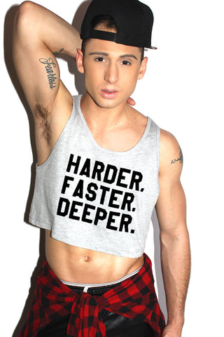 Harder Faster Deeper Crop Racerback Tank- Grey