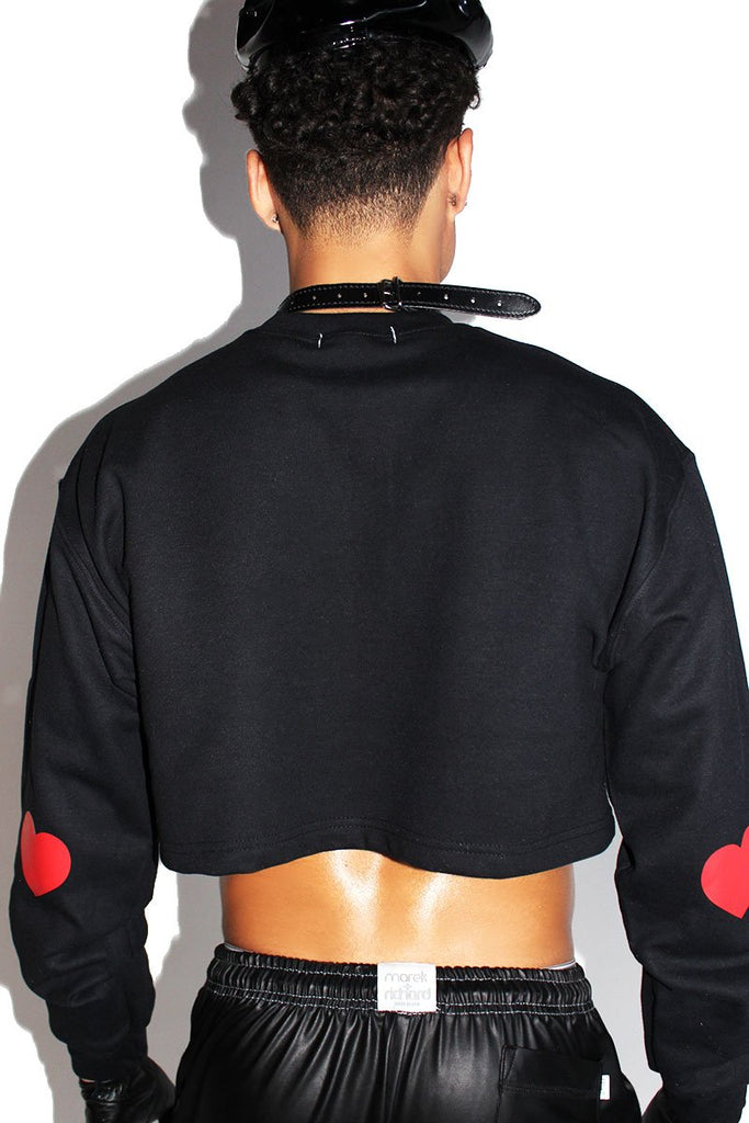 Heart Cutout Crop Long Sleeve Sweatshirt-Black