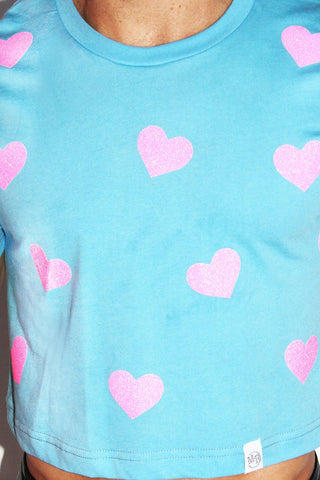 Hearts Crop Tee-Sky Blue