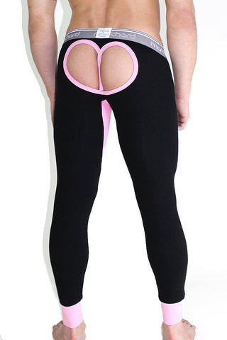 Heart Cutout Open Back Long Johns- Pink