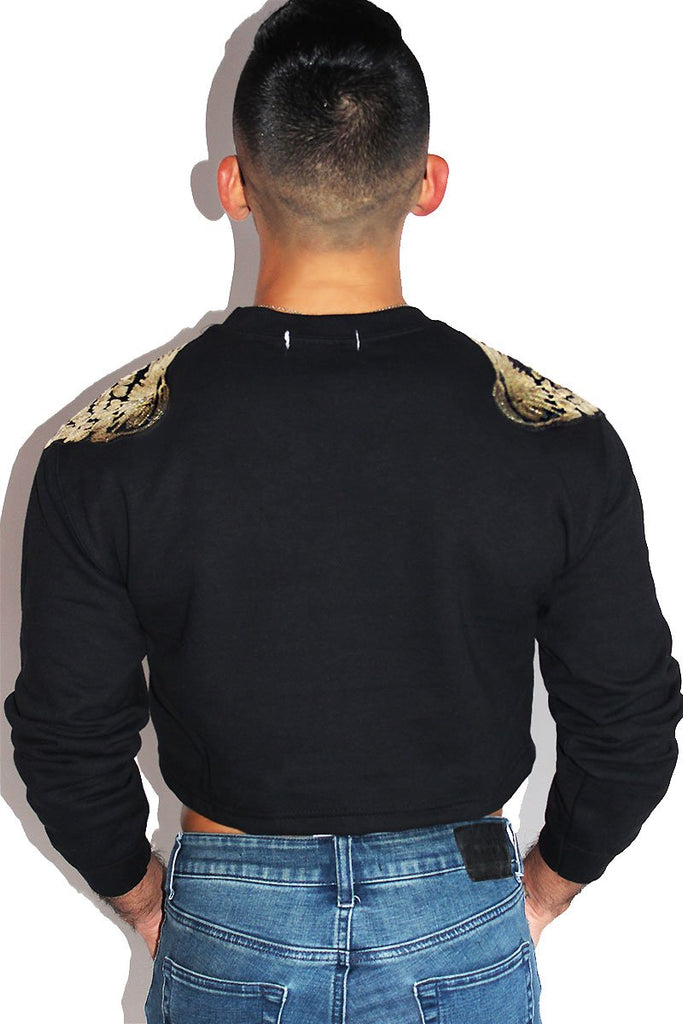Heavenly Wings Long Sleeve Sweatshirt-Black