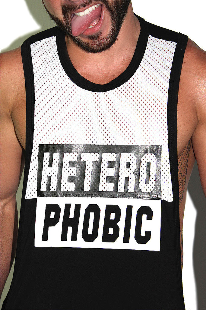 Hetero-Phobic Mesh Low Arm Tank-Black