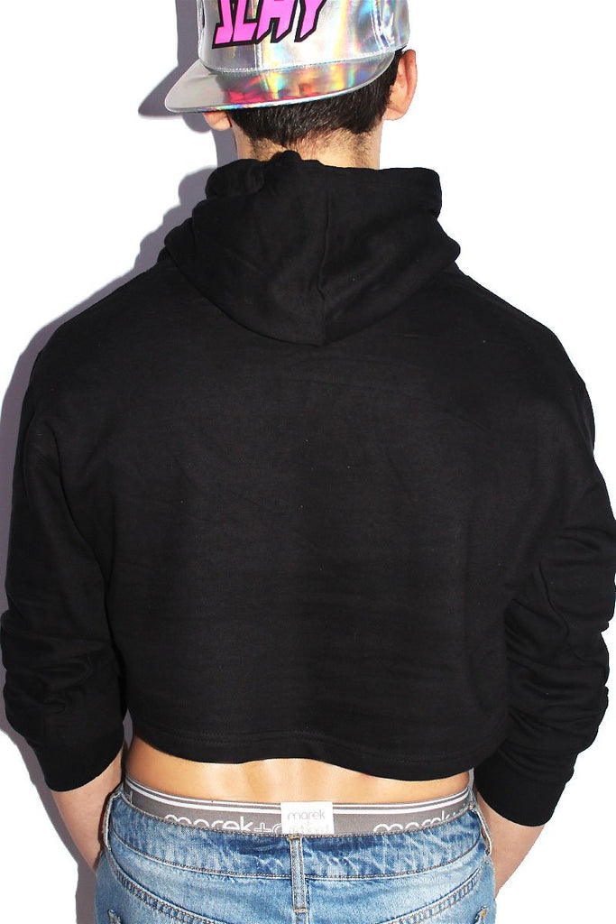 Holographic Flames Crop Long Sleeve Hoodie-Black