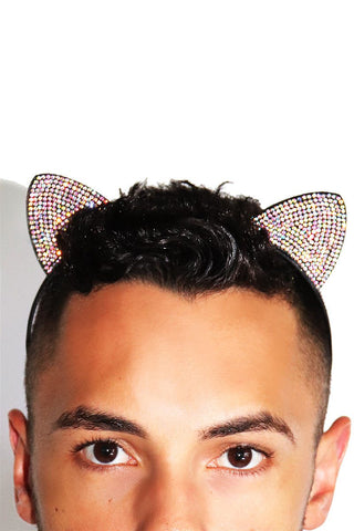 Rhinestone Cat Ears Headband-Holographic