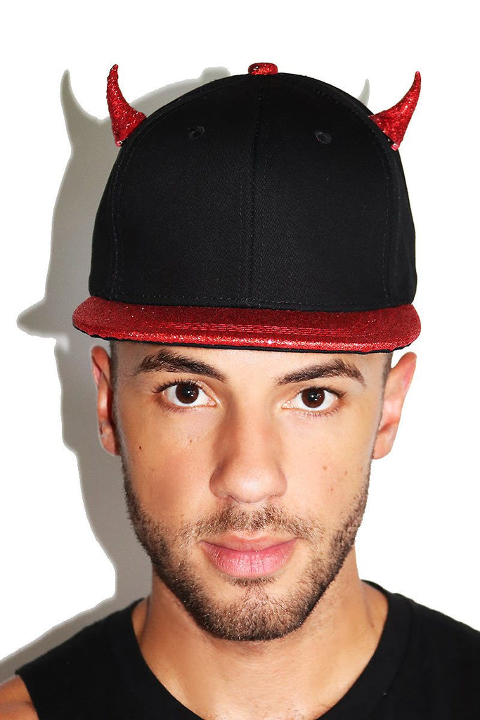 Horny Devil Snapback Hat-Black