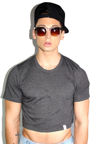 Core Crop Tee- Dark Charcoal
