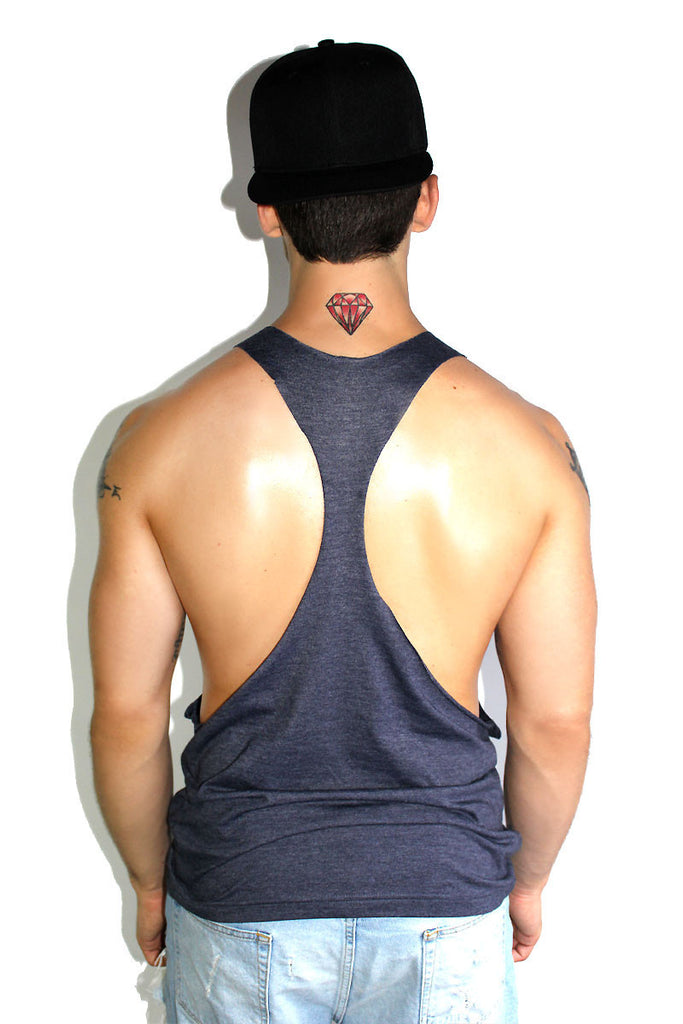 Core String Tank-Heather Navy