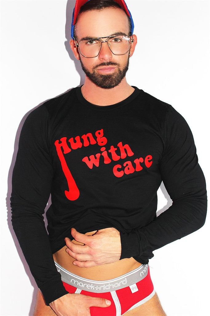 Hung with Care Long Sleeve Tee-Black