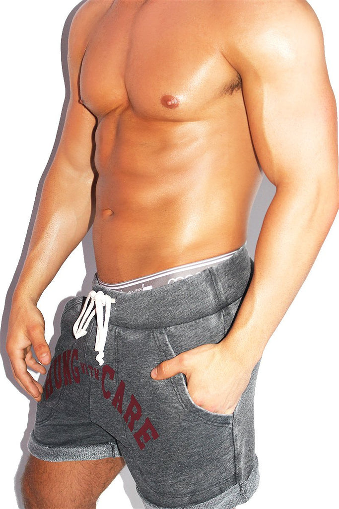 Hung with Care Athletic Shorts- Charcoal