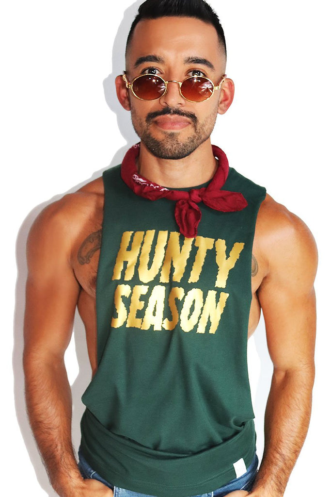 Hunty Season Low Arm Shredder Tank- Dk. Green