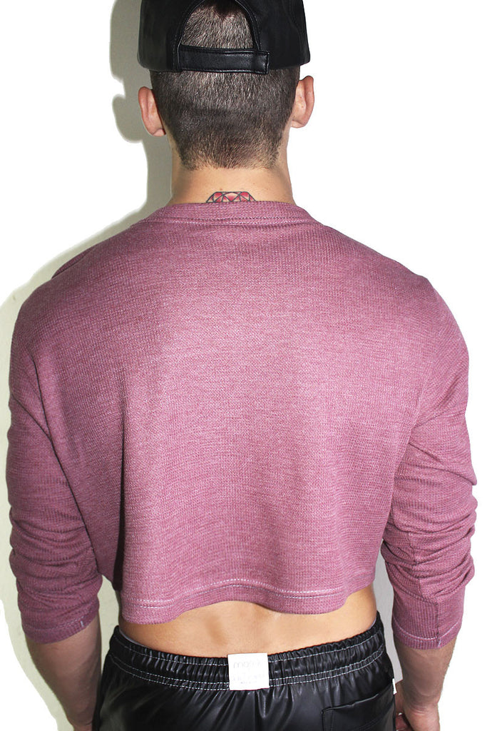Ice Cream Patch Crop Thermal- Burgundy
