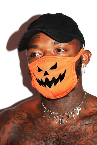 Evil Pumpkin Face Mask- Orange