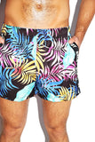 Daddy Vacation Palms Print Shorts- Black