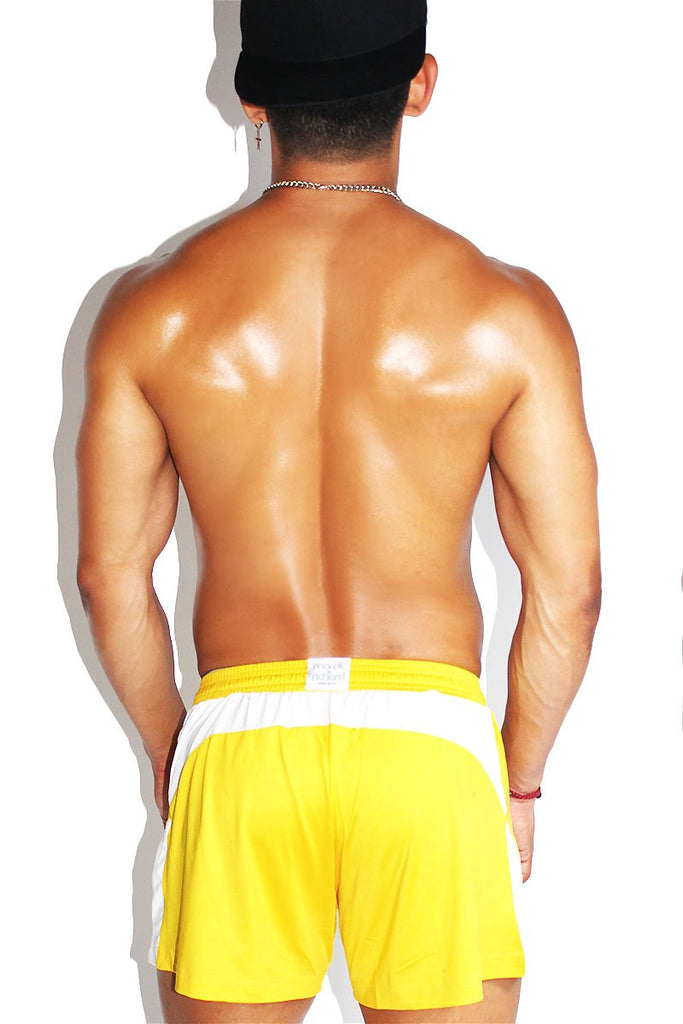 Kaboom Relaxed Athletic Shorts- Yellow