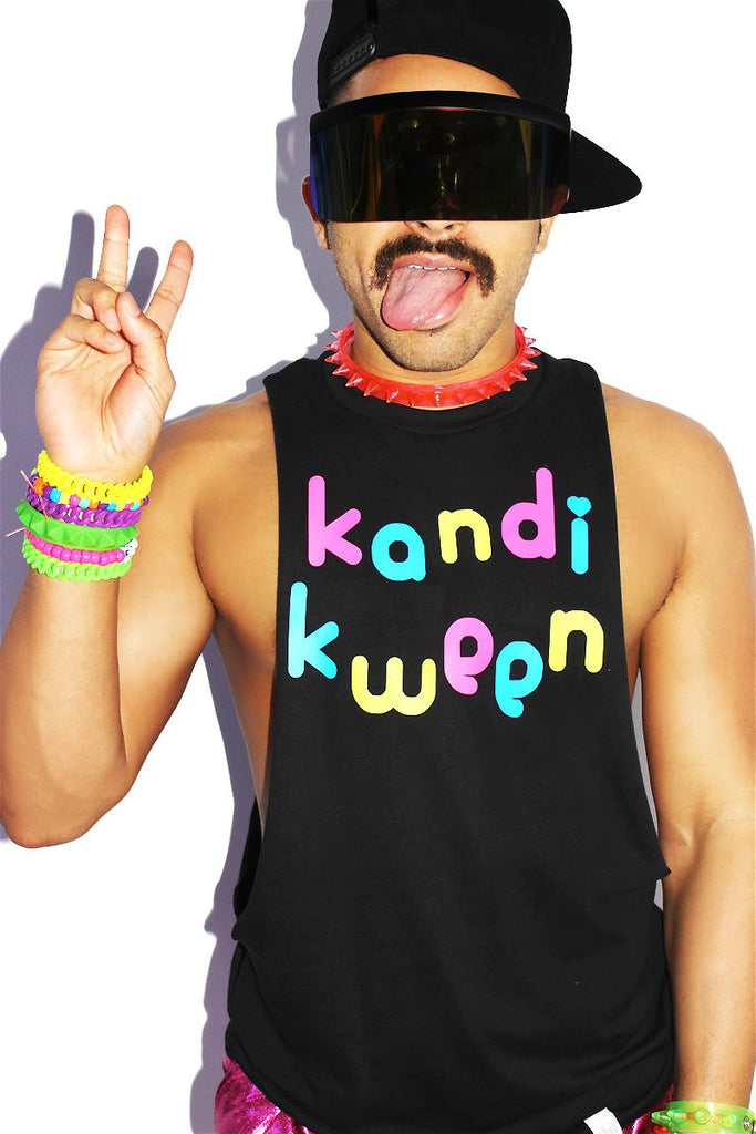 Kandi Kween Low Arm Shredder Tank- Black