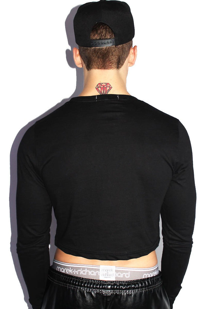 Kinky Long Sleeve Crop Tee-Black