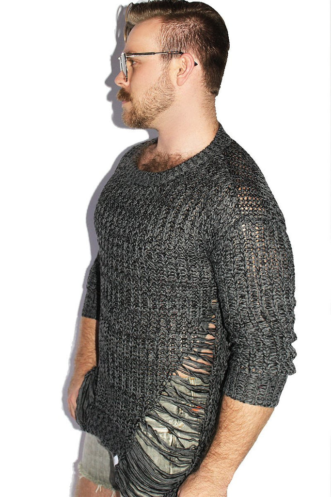 Grunge Marl Sweater-Charcoal