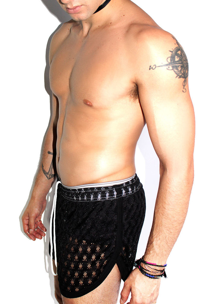 Lace Running Shorts-Black