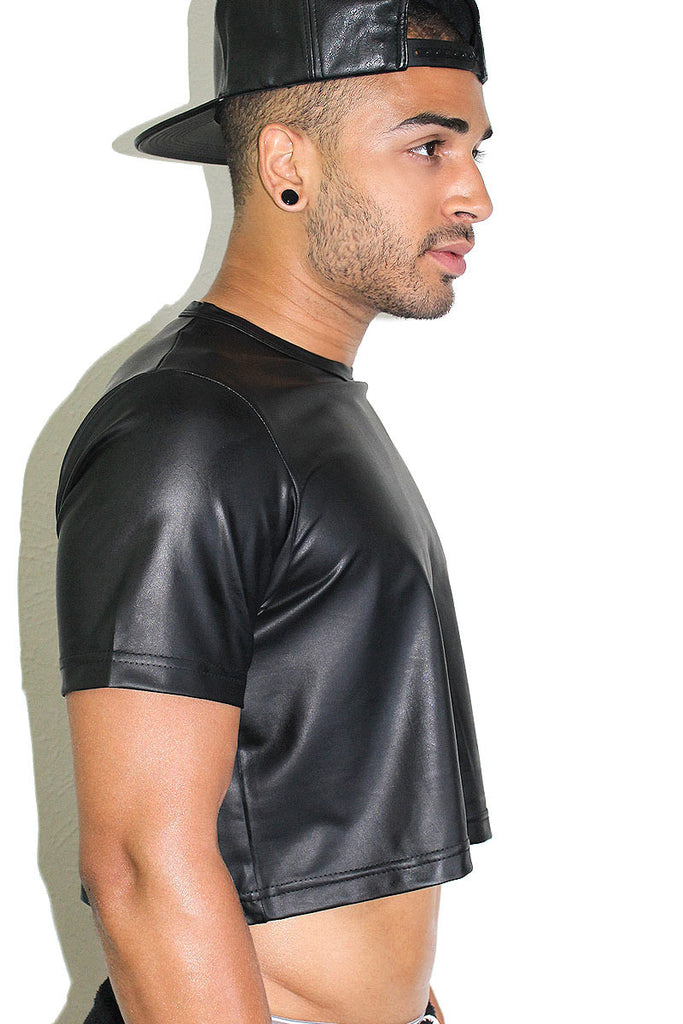 Vegan Leather Crop Tee- Black
