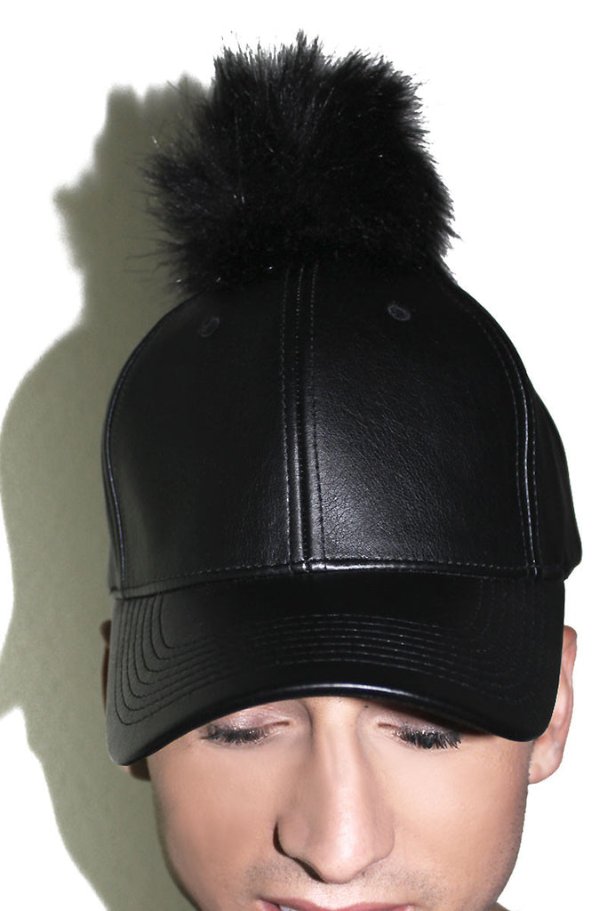 Pom Pom Vegan Leather Dad Hat- Black