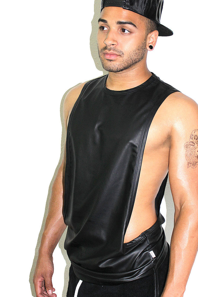 Vegan Leather Low Arm Tank- Black