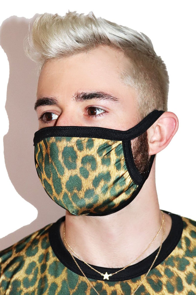 Leopard Face Mask- Black