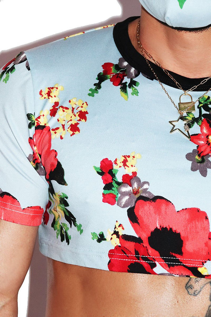 Bouquet Of Flowers Extreme Crop Tee- Blue