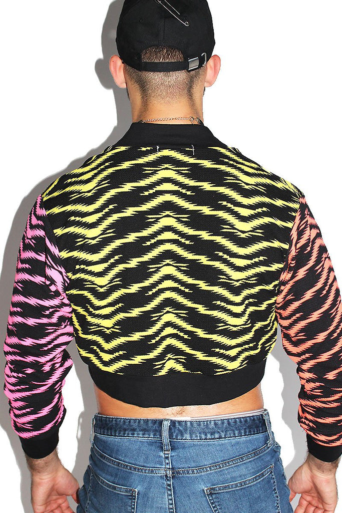 Jazzercise Tricolor Crop Bomber Jacket-Black