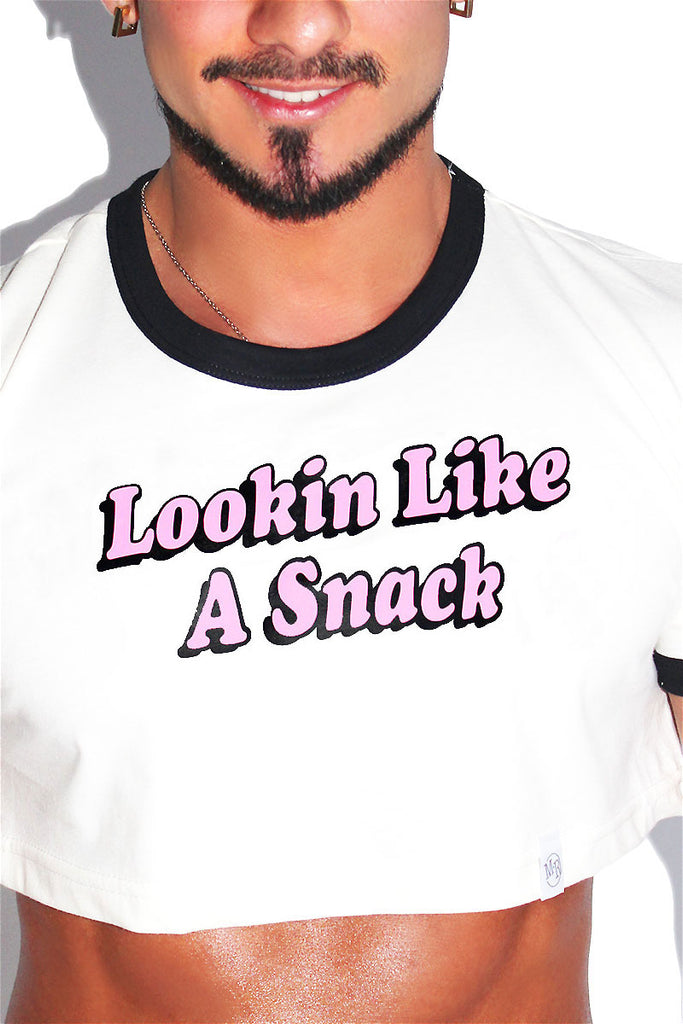 Like a Snack Ringer Extreme Crop Tee-Cream