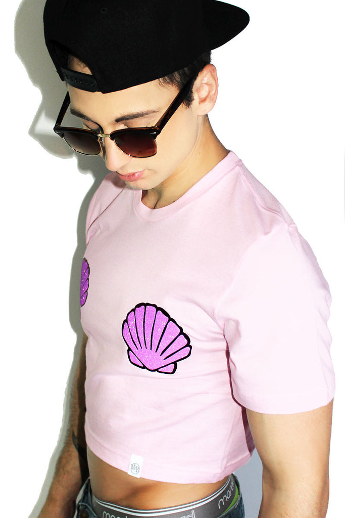 Lil Merman Crop Tee- Pink