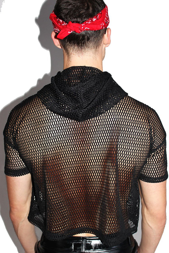 Lips Mesh Crop Short Sleeve Hoodie-Black