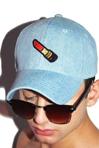 Lipstick Patch Denim Dad Hat-Blue