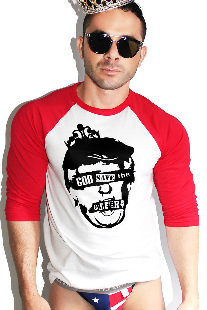 God Save The Queer Raglan Tee- Red