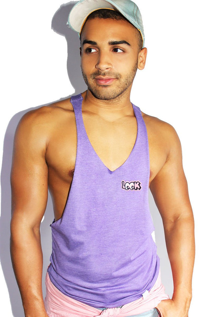 Look Patch String Tank- Purple Heather