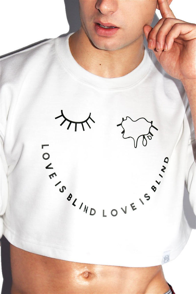 Love is Blind Crop Long Sleeve Sweatshirt-White