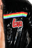 Love Rainbow Crop Puffer Jacket- Black