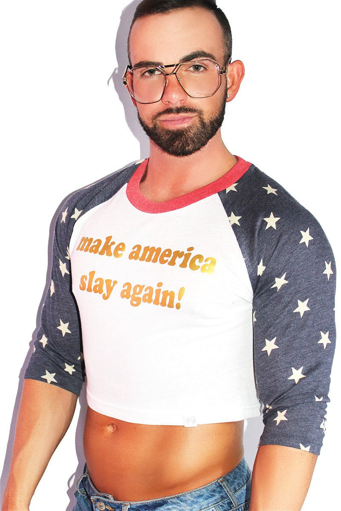 Make America Slay Again Long Sleeve Crop Tee- White