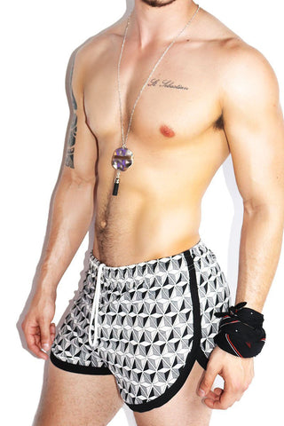 Geometric Stripe Running Shorts- Black
