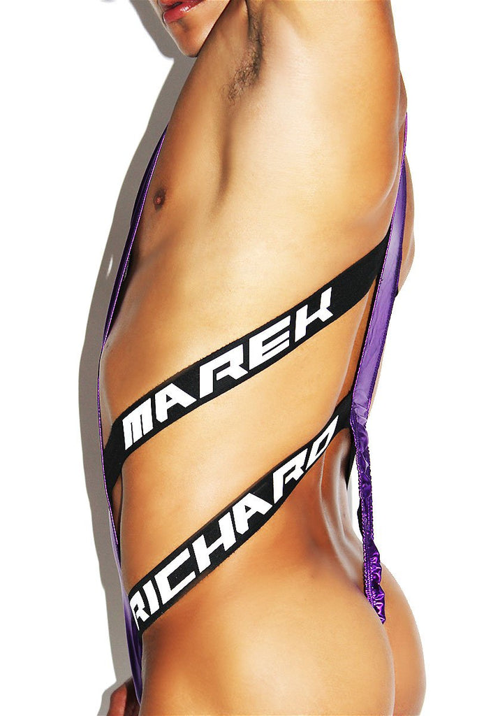 Metallic Elastic Zipper Wrestling Singlet-Purple