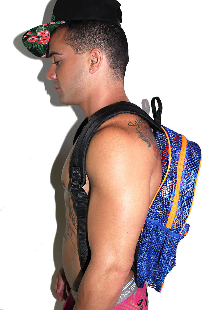 Logo Mesh Backpack- Blue