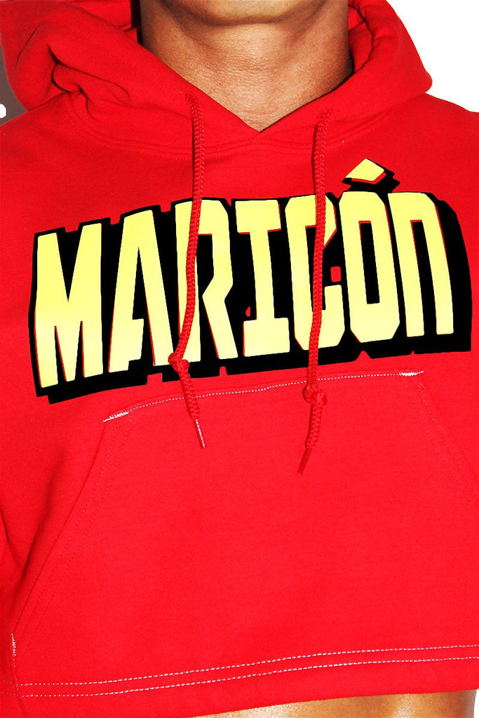 Maricon Crop Long Sleeve Hoodie-Red