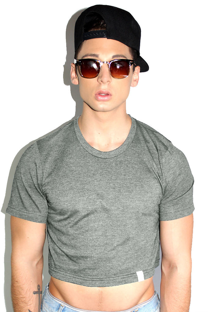 Core Crop Tee- Light Charcoal