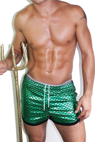 Fish Scale Running Shorts- Green